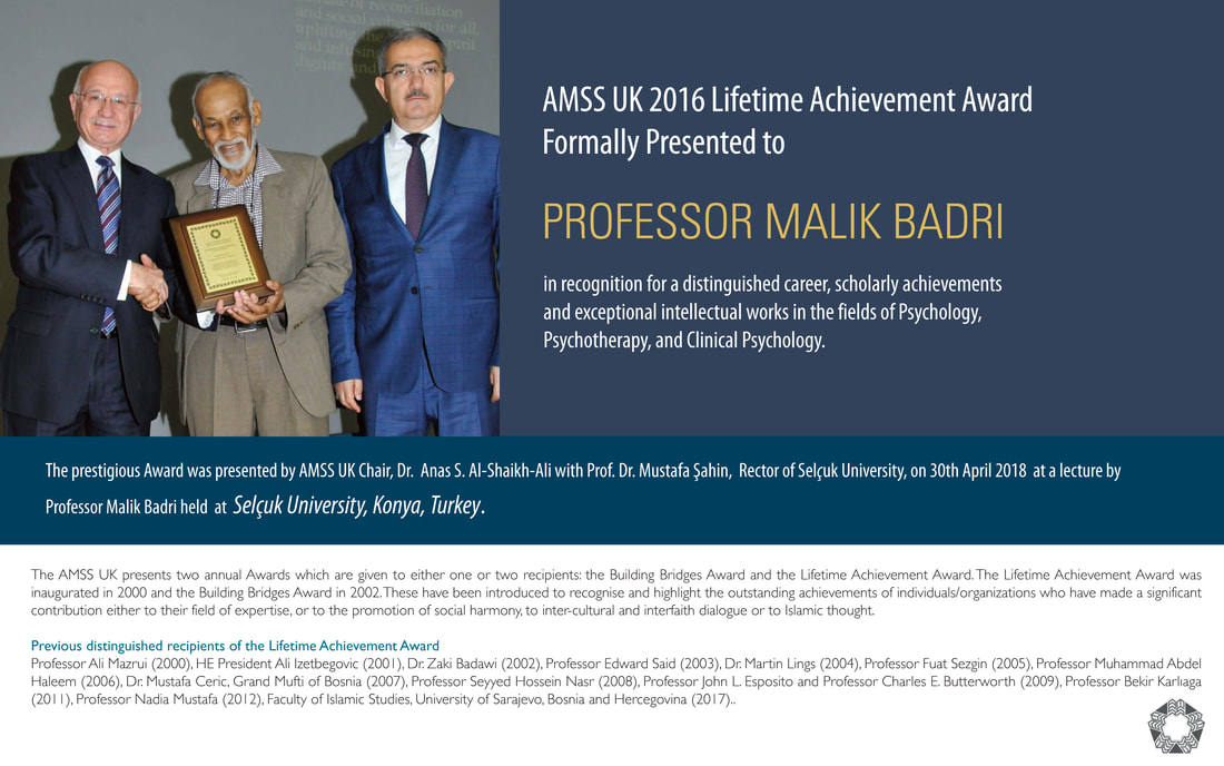 Prof. Malik Badri Formally Presented with AMSS UK 2016 Lifetime Achievement Award